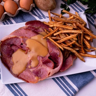 Country Ham Center Slices & French Fries with a Hot Mustard Sauce